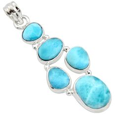 925 sterling silver 18.10cts natural blue larimar fancy pendant jewelry r10023