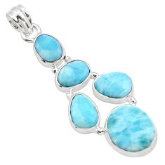 19.99cts natural blue larimar 925 sterling silver pendant jewelry r10025