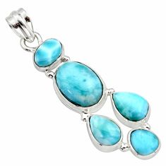 17.36cts natural blue larimar 925 sterling silver pendant jewelry r10027