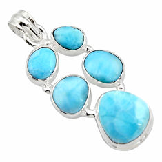 925 sterling silver 19.12cts natural blue larimar pendant jewelry r10032
