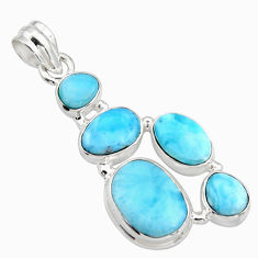 17.67cts natural blue larimar 925 sterling silver pendant jewelry r10034