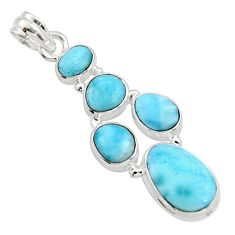17.31cts natural blue larimar 925 sterling silver pendant jewelry r10035