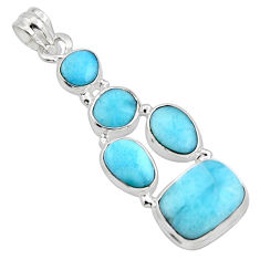 925 sterling silver 17.62cts natural blue larimar octagan pendant r10036