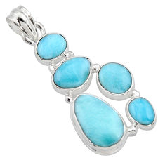 16.92cts natural blue larimar 925 sterling silver pendant jewelry r10037