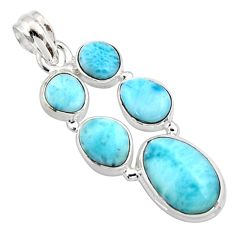 17.31cts natural blue larimar 925 sterling silver pendant jewelry r10038