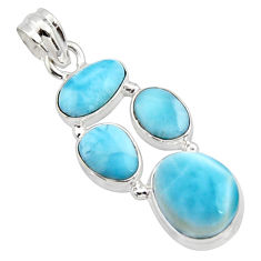 17.18cts natural blue larimar 925 sterling silver pendant jewelry r10042