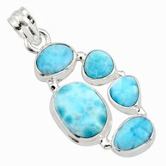 17.18cts natural blue larimar 925 sterling silver pendant jewelry r10043