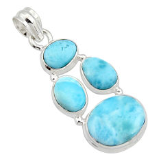 925 sterling silver 17.20cts natural blue larimar pendant jewelry r10044
