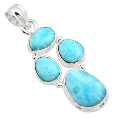 17.20cts natural blue larimar 925 sterling silver pendant jewelry r10051