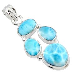925 sterling silver 17.20cts natural blue larimar fancy pendant jewelry r10054