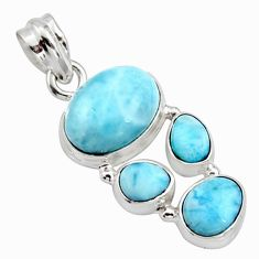 13.71cts natural blue larimar 925 sterling silver pendant jewelry r10056