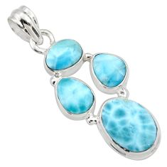 14.70cts natural blue larimar 925 sterling silver pendant jewelry r10059