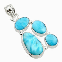 15.53cts natural blue larimar 925 sterling silver pendant jewelry r10060