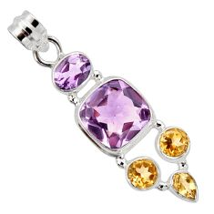 13.07cts natural pink amethyst yellow citrine 925 sterling silver pendant r10067