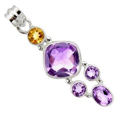 13.03cts natural pink amethyst citrine 925 sterling silver pendant r10072