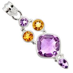 12.40cts natural pink amethyst yellow citrine 925 sterling silver pendant r10073