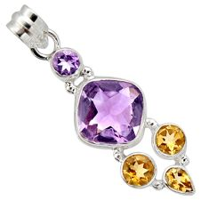 12.04cts natural pink amethyst citrine 925 sterling silver pendant r10076