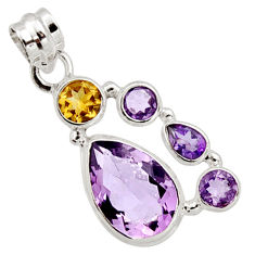 11.02cts natural pink amethyst citrine 925 sterling silver pendant r10082