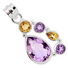11.02cts natural pink amethyst citrine 925 sterling silver pendant r10083