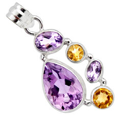 11.71cts natural pink amethyst yellow citrine 925 sterling silver pendant r10084