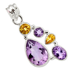 925 sterling silver 11.37cts natural pink amethyst yellow citrine pendant r10090