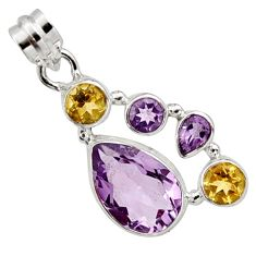 11.65cts natural pink amethyst citrine 925 sterling silver pendant r10092