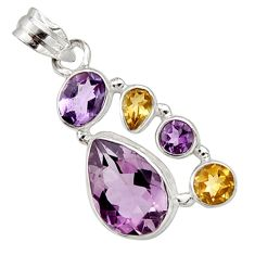 925 sterling silver 11.36cts natural pink amethyst yellow citrine pendant r10093