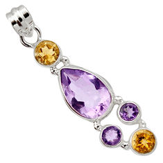 11.37cts natural pink amethyst citrine 925 sterling silver pendant r10095