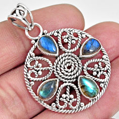 7.58cts natural blue labradorite 925 sterling silver pendant jewelry r10622