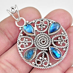 7.02cts natural blue labradorite 925 sterling silver pendant jewelry r10629