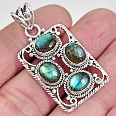 925 sterling silver 8.27cts natural blue labradorite oval pendant jewelry r10636
