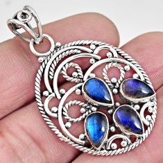 6.90cts natural blue labradorite 925 sterling silver pendant jewelry r10640
