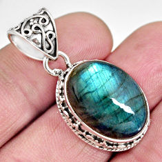 925 silver 13.63cts natural blue labradorite oval shape pendant jewelry r10650