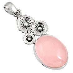 17.20cts natural pink rose quartz 925 sterling silver flower pendant r11006