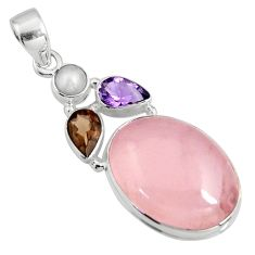 19.00cts natural pink rose quartz smoky topaz pearl 925 silver pendant r11008