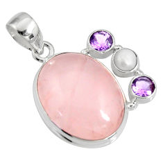 17.69cts natural pink rose quartz amethyst 925 sterling silver pendant r11019