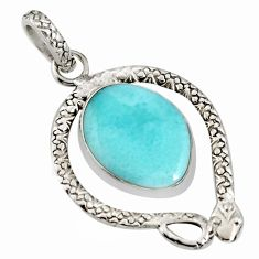 13.28cts natural blue larimar 925 sterling silver snake pendant jewelry r11021
