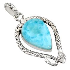17.36cts natural blue larimar 925 sterling silver snake pendant jewelry r11022