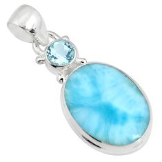 925 sterling silver 13.70cts natural blue larimar topaz pendant jewelry r11024