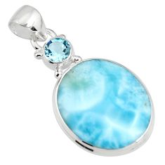 16.06cts natural blue larimar topaz 925 sterling silver pendant jewelry r11033