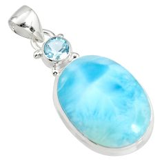 17.95cts natural blue larimar topaz 925 sterling silver pendant jewelry r11039