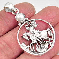 1.22cts natural white pearl 925 silver horse rider charm pendant jewelry r11227