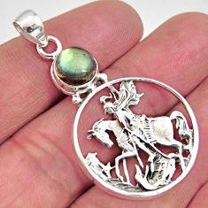 3.24cts natural blue labradorite 925 silver horse rider charm pendant r11244