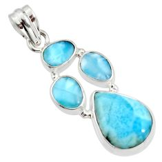 14.84cts natural blue larimar 925 sterling silver pendant jewelry r11283