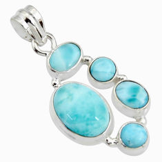925 sterling silver 13.07cts natural blue larimar oval pendant jewelry r11284