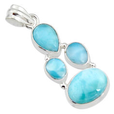 14.12cts natural blue larimar 925 sterling silver pendant jewelry r11285