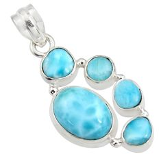 11.25cts natural blue larimar 925 sterling silver pendant jewelry r11286