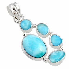 11.22cts natural blue larimar 925 sterling silver pendant jewelry r11287