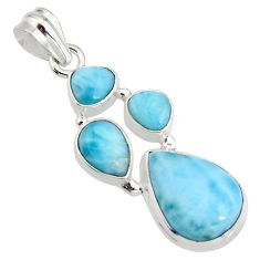 925 sterling silver 14.41cts natural blue larimar pear pendant jewelry r11288
