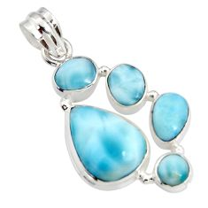 15.31cts natural blue larimar 925 sterling silver pendant jewelry r11289